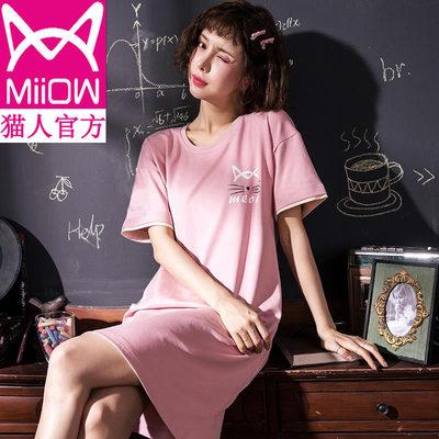 猫人睡裙女夏纯棉短袖甜美可爱睡衣学生条纹卡通夏季连衣裙家居服