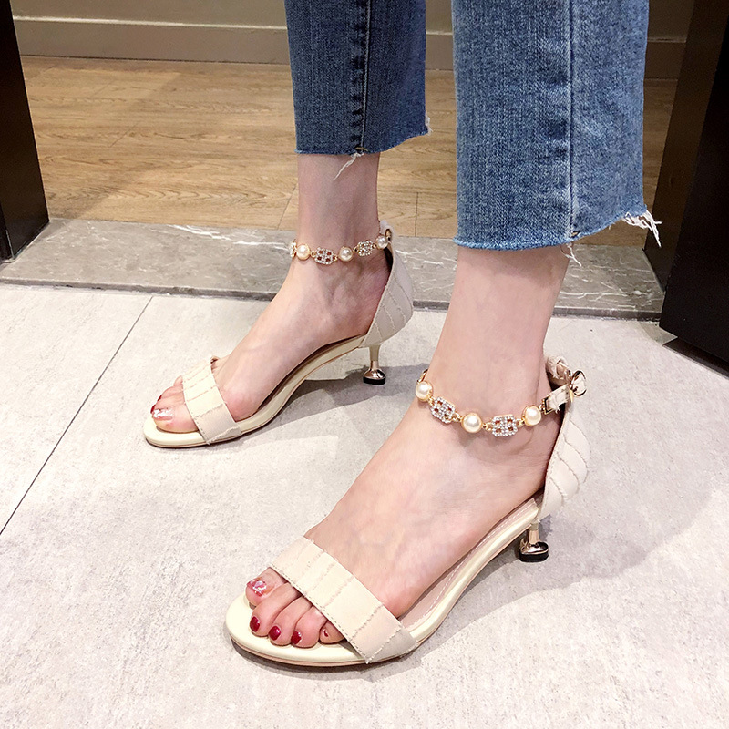 Sandal girl 2021 new fairy style versatile one word with little fresh girls naked high heeled shoes womens thin heeled summer style