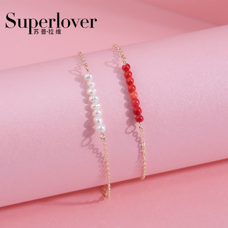 Original design by supravi, INS style, pearl, coral, girlfriend, bracelet, fashion, gold-plated jewelry, personalized gift, female