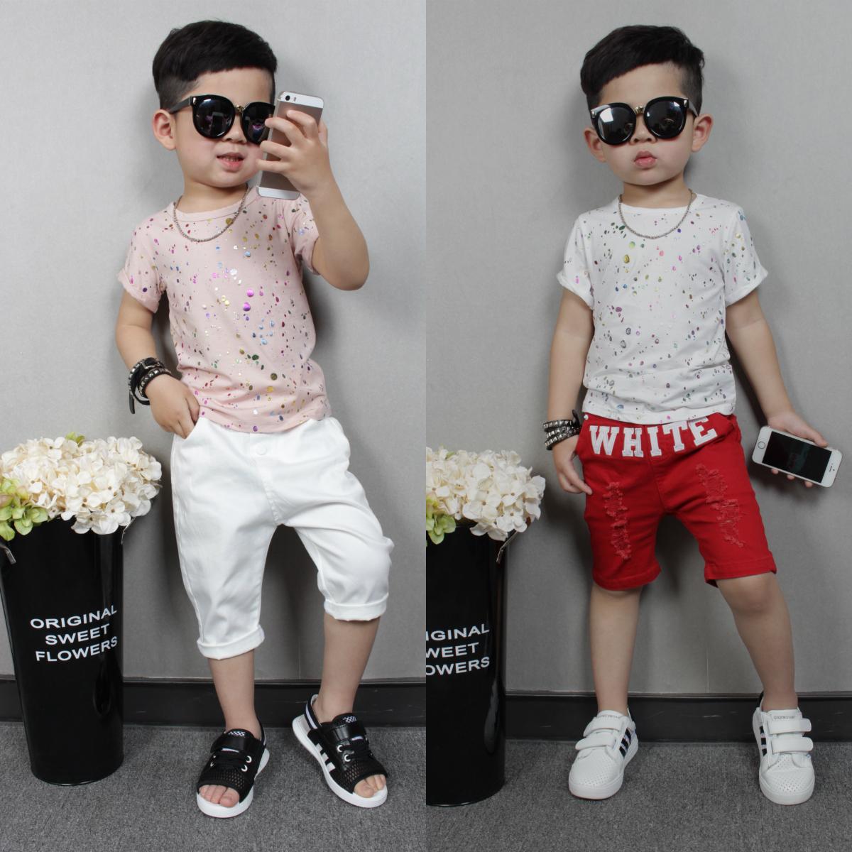 КАКА 2016 новых весной и летом одежды для мальчиков и девочек хлопок короткий рукав t рубашка пальто корейских детей одежды младенца ребенка Тайд