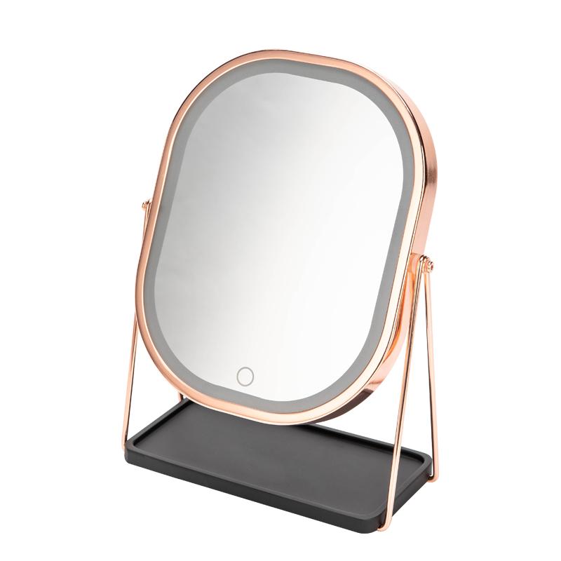 北歐大號led化妝鏡充電式化妝鏡帶燈補光發光臺式梳妝鏡金屬鏡子