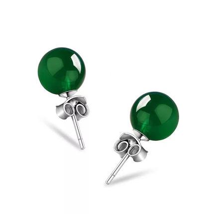 天然绿玛瑙925纯银耳钉祖母绿玉髓宝石水晶耳饰女生新年礼物饰品