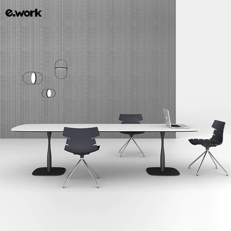 简易会议桌简约现代小型洽谈会客桌椅组合椭圆形长桌开会桌培训桌