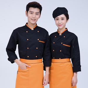 廚師服長袖秋冬款廚房蛋糕烘焙西點師工作服白色廚衣中式廚師服裝