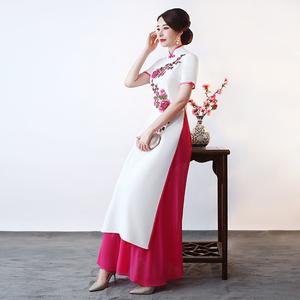 2020新款式正宗奥黛中国风旗袍短袖长款舞台演出走秀队服