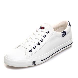 人本帆布鞋男韓版低幫白色透氣學生板鞋繫帶休閒鞋平底百搭男鞋潮