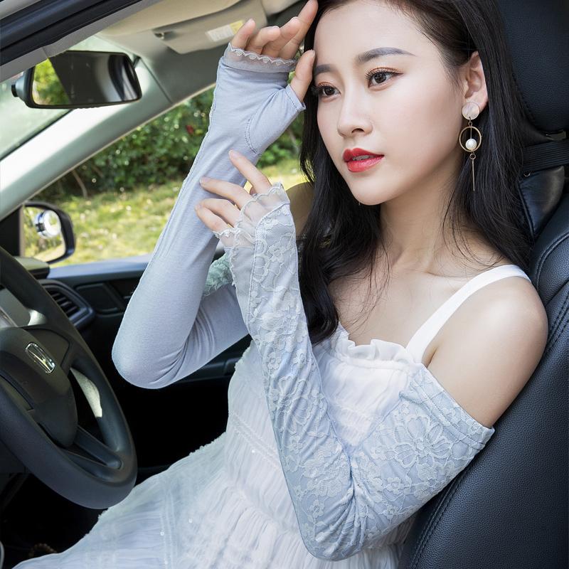 冰爽袖防晒女袖套夏季防紫外线臂套蕾丝袖子套冰丝可爱开车护臂套