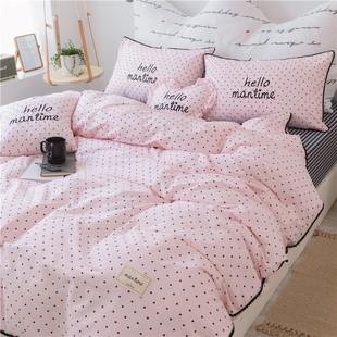 韩版花边床裙式四件套公主风田园床上用品立体碎花床罩少女心被套