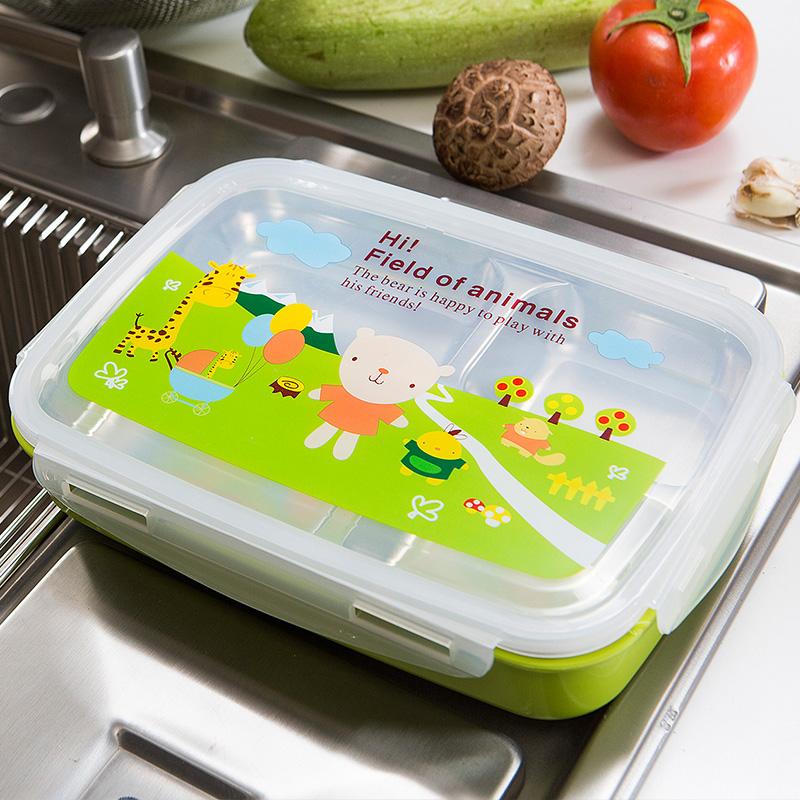 304不鏽鋼 保溫飯盒雙層隔熱防燙兒童小學生便當盒分格韓國快餐盒