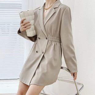 【本千原创】2020秋季韩版时尚长袖气质西装领风衣外套女