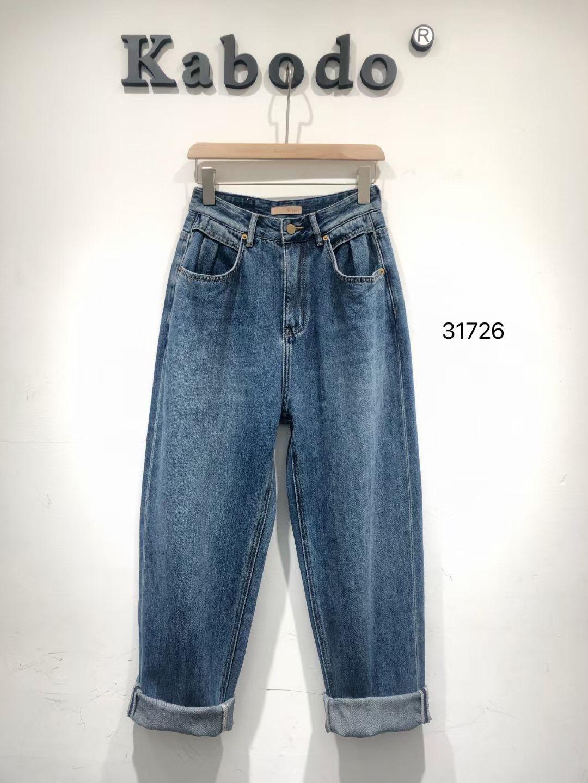2021年BABO巴布牛仔裤女31726欧版宽松柔软显瘦老爹裤百搭哈伦裤