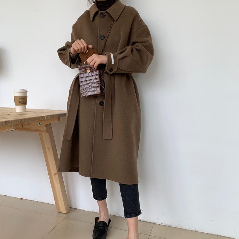 谁穿谁美炒好看的韩国双面羊绒大衣女中长款复古时髦秋冬呢子外套