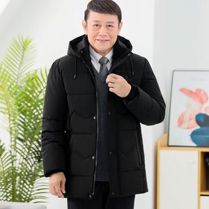 爸爸冬季外套男装中年男士冬装棉袄加厚爷爷装中老年羽绒棉衣男