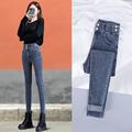 高腰牛仔裤女显瘦秋装2020年新款修身九分铅笔裤紧身女士小脚裤子