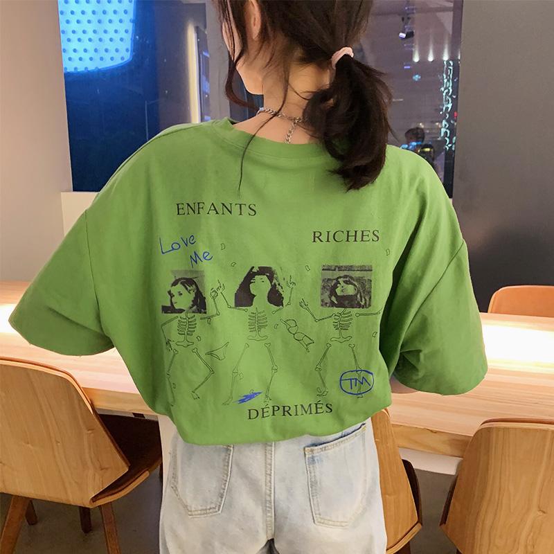 券后24.90元纯棉牛油果抹茶绿色短袖古着感t恤