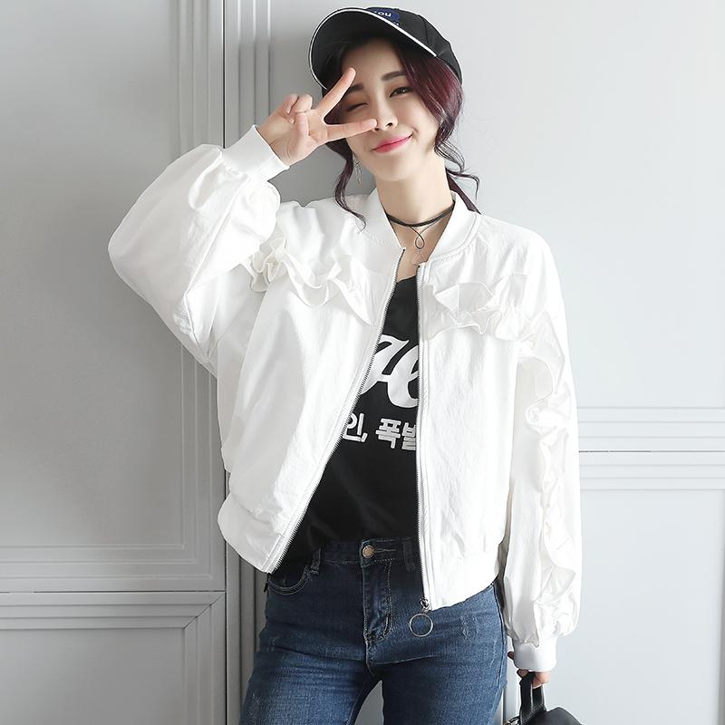IFashion autumn 2021 new Korean Short Ruffle stand collar womens jacket small thin coat