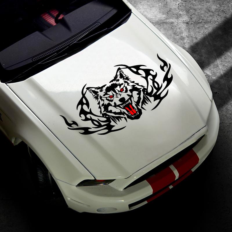 汽车车门装饰车头盖个性狼图腾拉花机头盖狼头霸气时尚改装车贴纸,可领取3元天猫优惠券