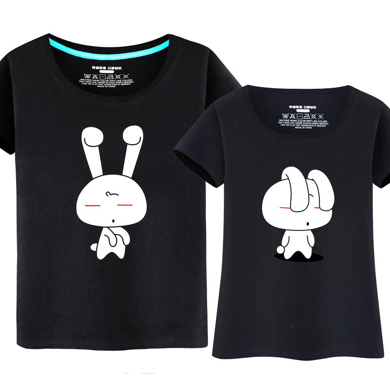 夏装新款纯棉学生韩版大码情侣装男女款短袖t恤衫 卡通可爱兔子潮