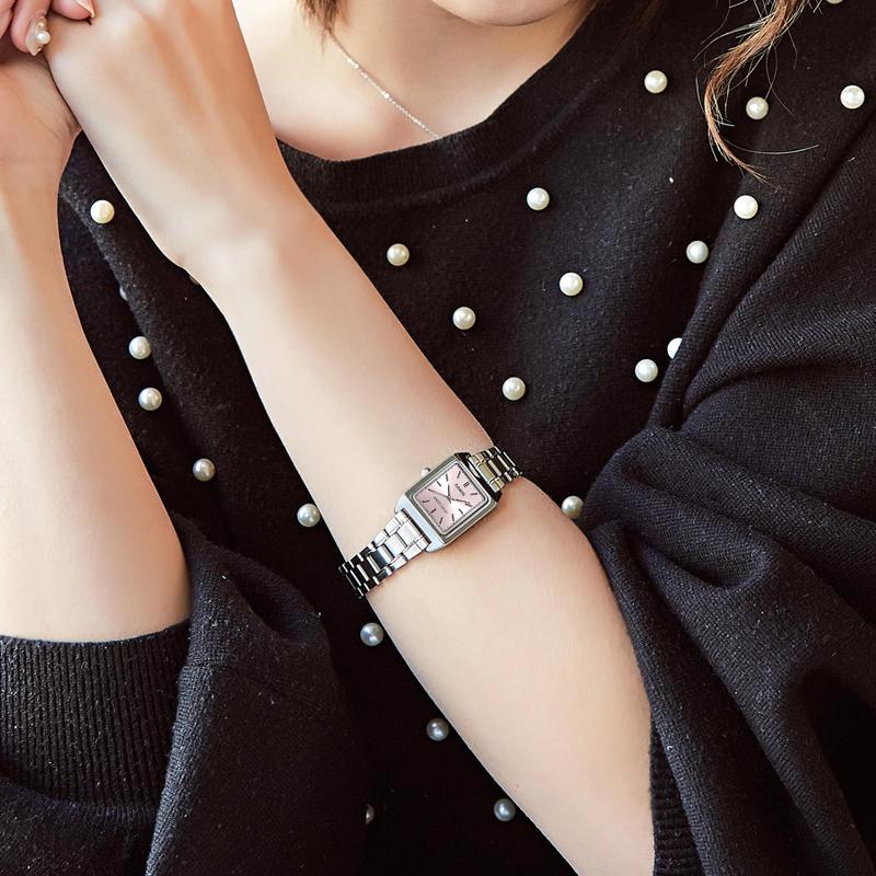 卡西欧复古小方表女款手表简约气质钢带防水casio石英表生日礼物11月10日最新优惠