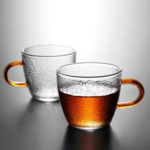 锤纹玻璃茶杯茶碗手工功夫小茶杯家用品茗杯耐热主人杯带把6只装