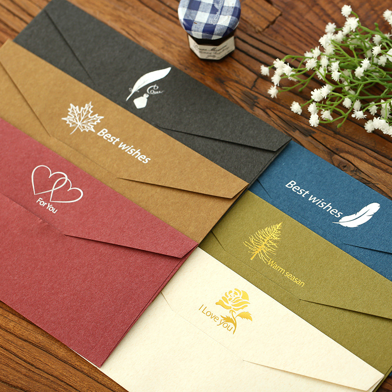 Retro elegant gilded envelope business high-end invitation red envelope contains 6 choices of western romantic wedding decoration