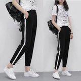 韩版白条运动裤