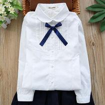 女童白衬衫校园女大童长袖儿童衬衣纯棉白色春秋款小学生洋气校服