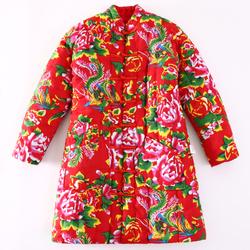 纯棉花中长款棉衣女士冬季加厚保暖中老年妈妈民族风手工棉袄外套