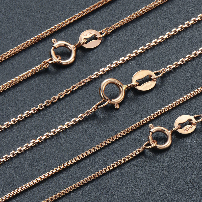18K gold necklace rose gold chain with Chopin long o box chain 50cm55cm60cm long chain package