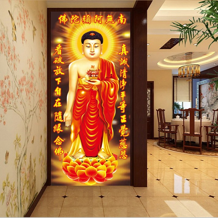 Diamond painting all over the living room porch corridor no Amitabha statue in the South 5D cross stitch brick stone embroidery diamond embroidery new style