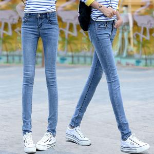 2021春季女装牛仔裤女士中腰小脚韩版弹力修身浅色休闲铅笔长裤子