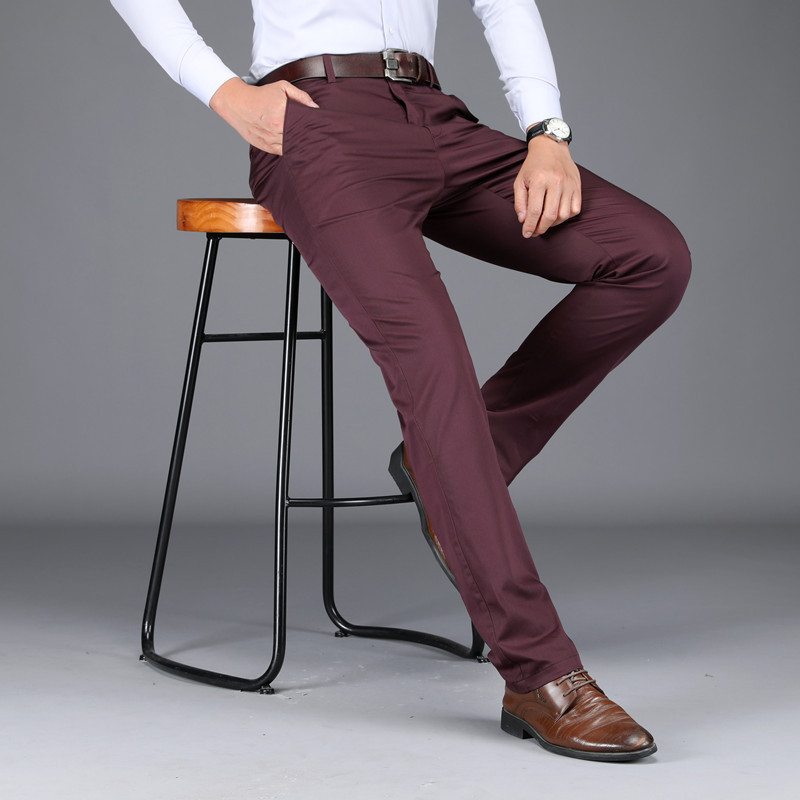 Office dress summer thin Tencel cotton mens casual pants business non iron elastic straight pants
