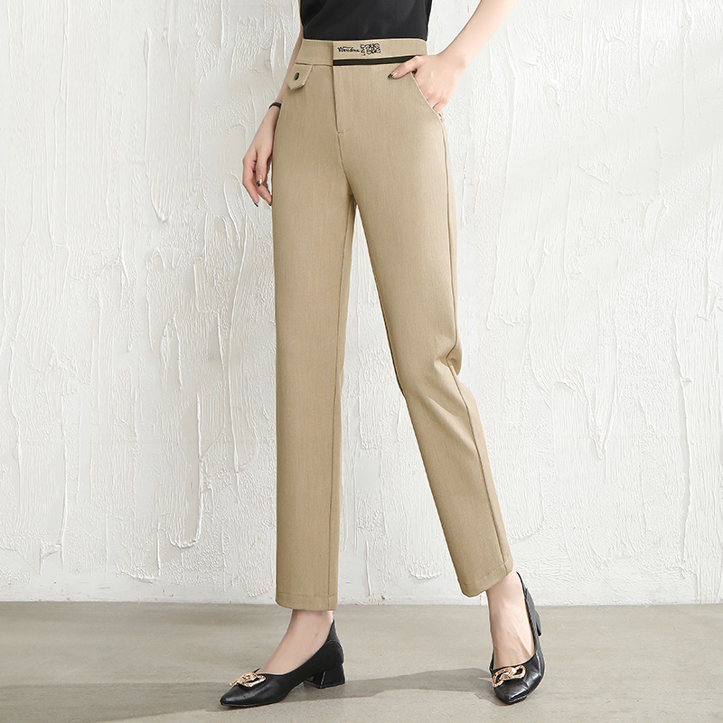 Khaki straight pants womens spring 2021 new casual loose pipe pants nine point suit pants work clothes Harlan pants