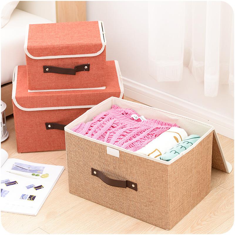 布藝亞麻內衣收納盒兩件套折疊內衣褲收納箱有蓋內褲襪子整理箱子