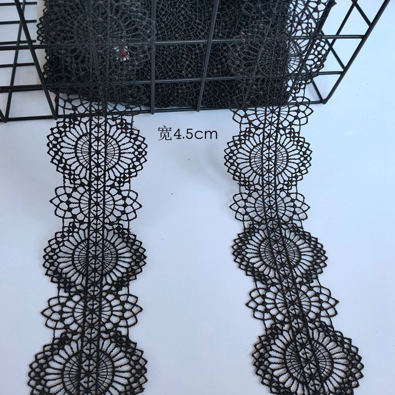 DIY handmade accessories fine lace black water soluble lace 4.5cm wide Lolita accessories