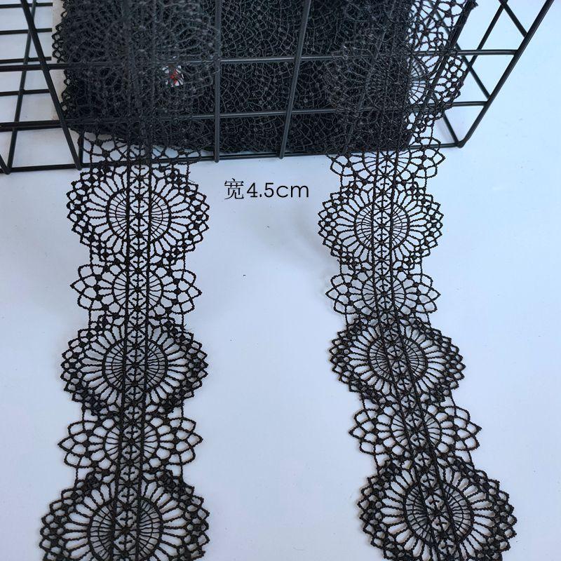 DIY手工饰品配件精细蕾丝黑色水溶花边 宽4.5cm 洛丽塔服装辅料