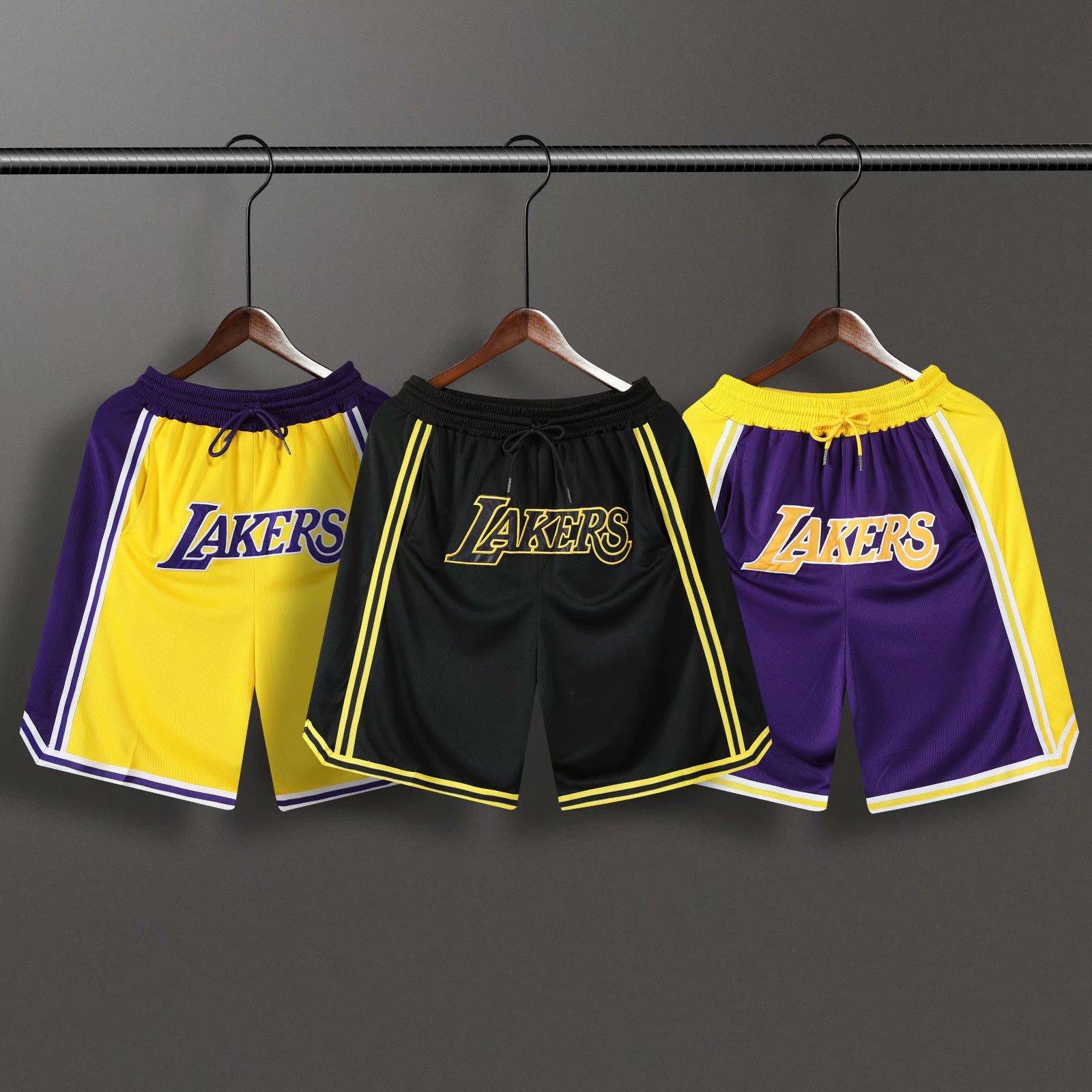 詹姆斯同款湖人短裤男训练宽松复古刺绣健身跑步篮球裤运动五分裤