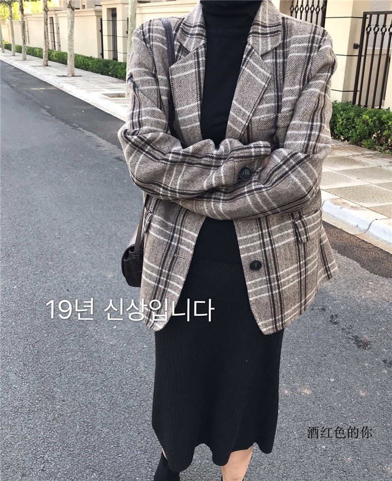 South Korean New Women's cashmere plaid coat small suit medium length retro loose simple all over wool coat