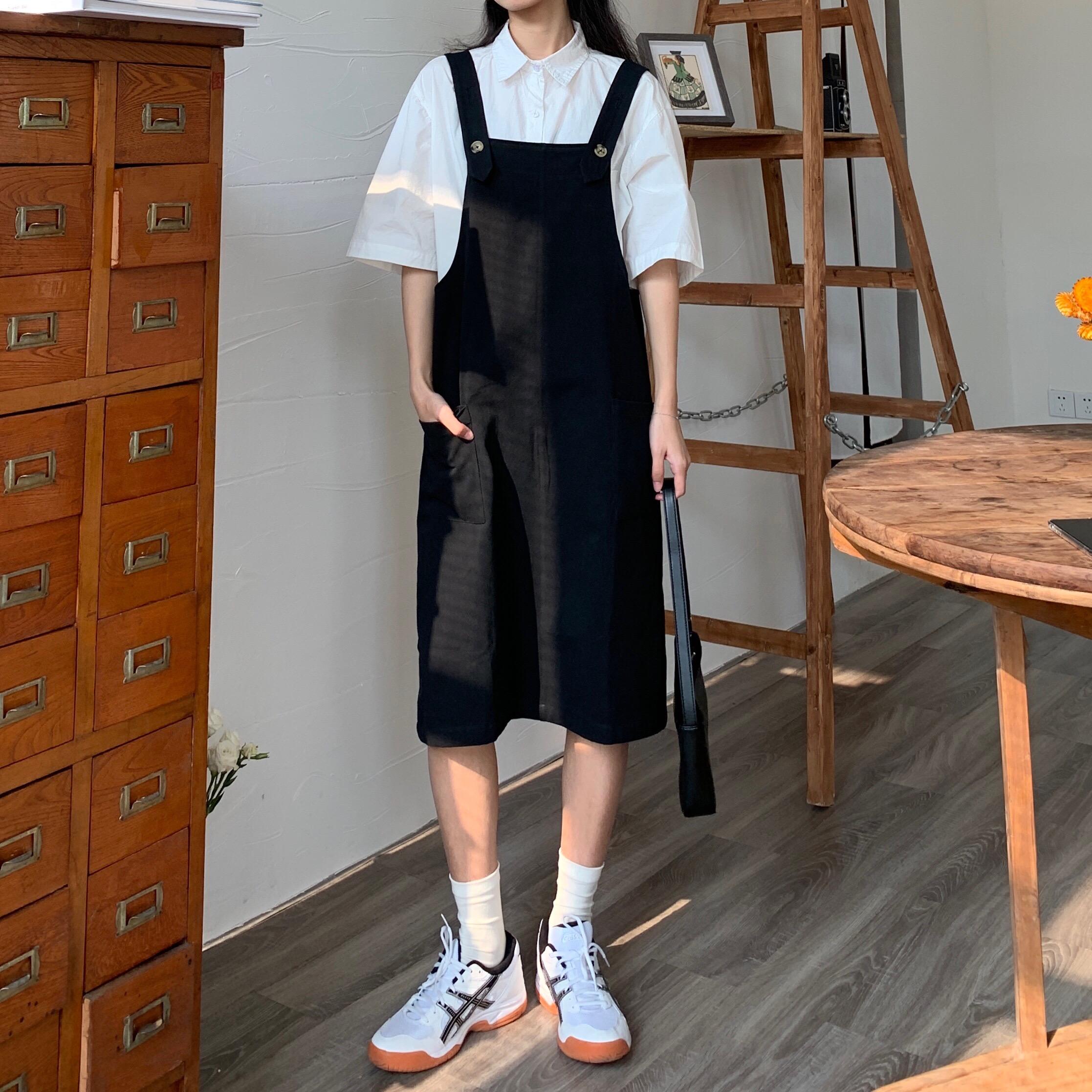 蘇安家 寬松背帶連衣裙 水洗簡約背帶裙夏2020學生連體高腰減齡女