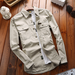 吉普路工装衬衫男长袖春秋季青年宽松大码寸衫休闲纯棉衬衣薄款