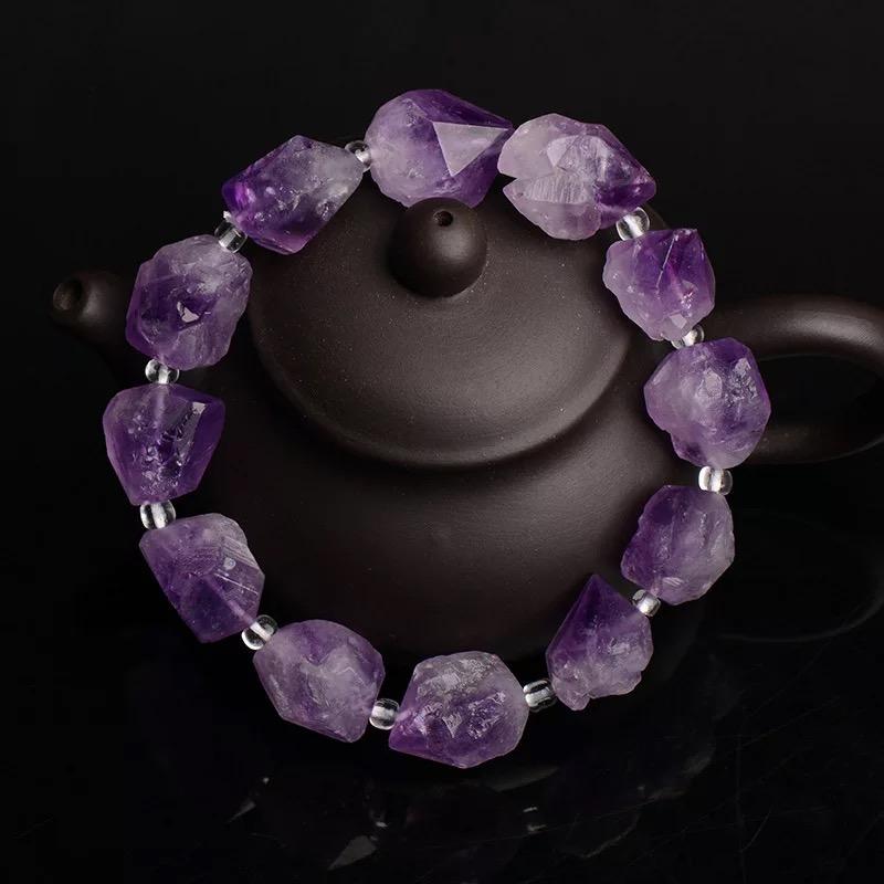天然紫水晶原石男女款助学业手链