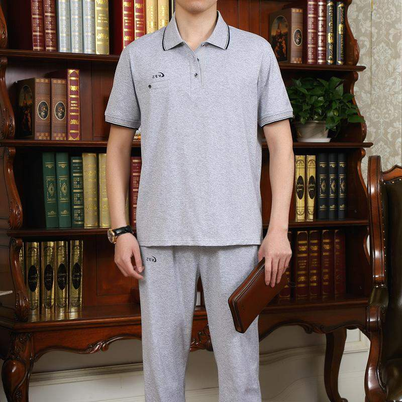 Middle aged and old mens short sleeved sports suit summer short sleeved trousers Lapel sports suit