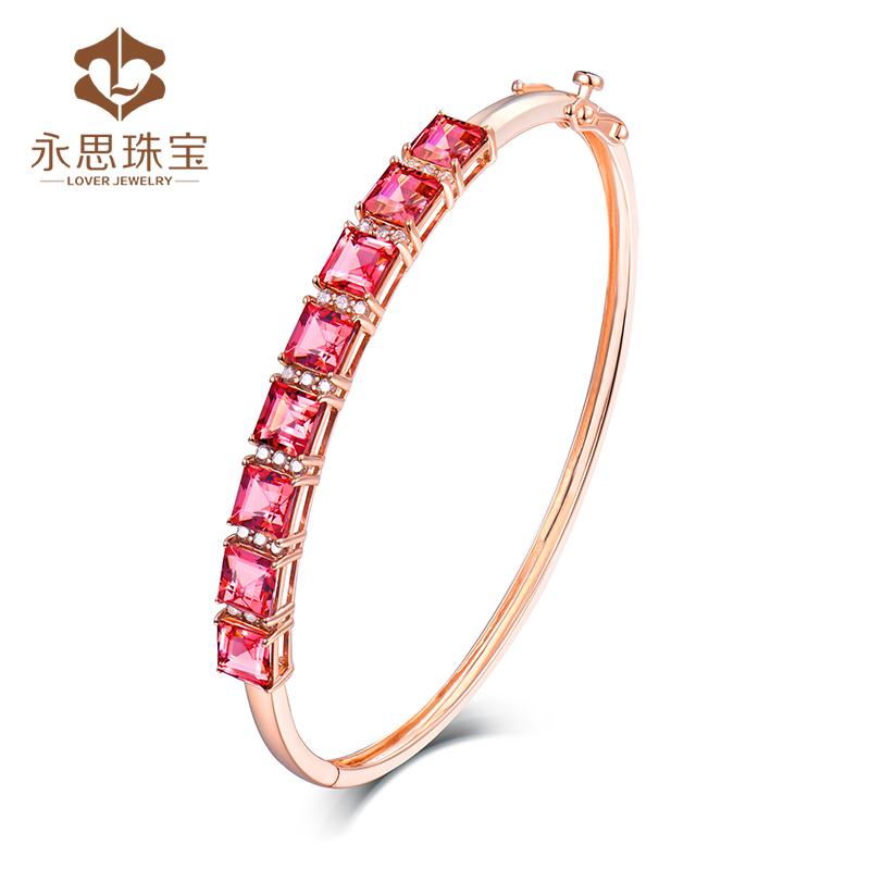 Yongsi jewelry 4.5 carat 18K gold color gem natural tourmaline bracelet with 31 diamonds