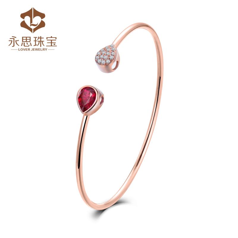 Yongsi jewelry 87 points 18K Gold Natural Ruby bracelet for women
