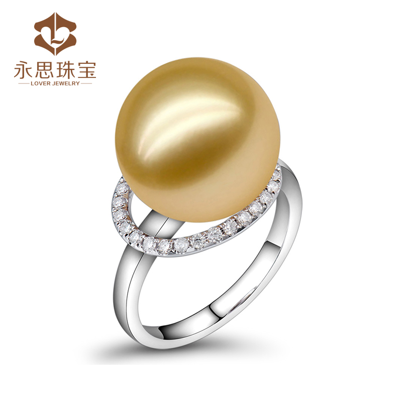 Yongsi jewelry 13 carat natural freshwater pearl 24 cent natural South African Diamond 18K Gold gem ring