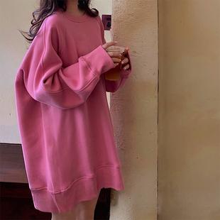大码女装胖妹妹mm秋冬上衣女2021新款减龄显瘦宽松韩版加绒卫衣潮