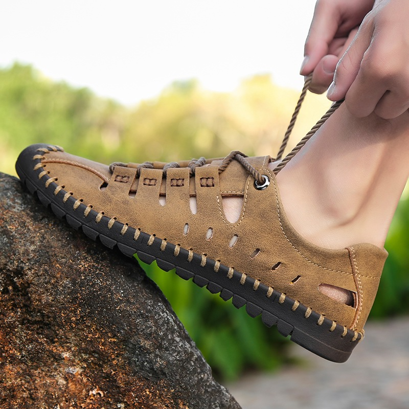 夏季男士凉鞋特大号45包头户外涉水鞋洞洞镂空46特大码休闲鞋男鞋