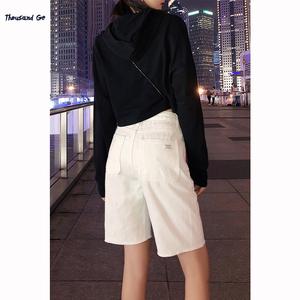 白色五分裤女夏季2021年新款高腰牛仔短裤女百搭显瘦宽松阔腿中裤