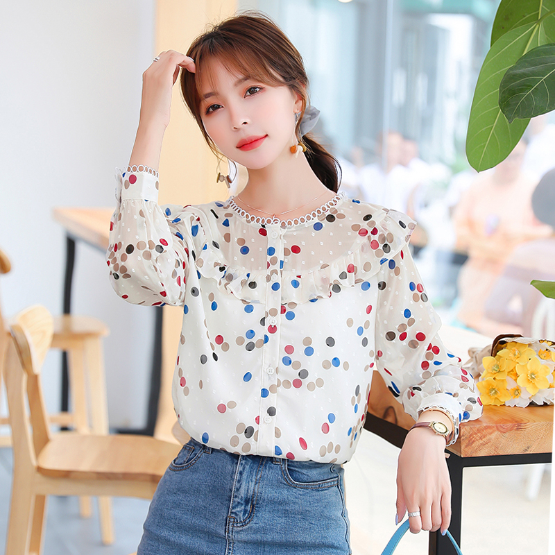 Design sense small wave point Ruffle shirt spring and autumn 2020 new Korean Long Sleeve Chiffon shirt for women