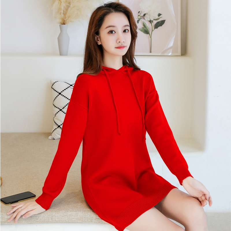 Hooded wool dress fall / winter 2019 new thickened Pullover loose long sleeve Korean student medium length sweater